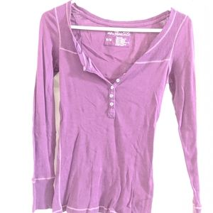 Long sleeve button neck